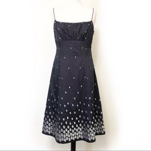 Ann Taylor Silver Embroidered A-Line Dress
